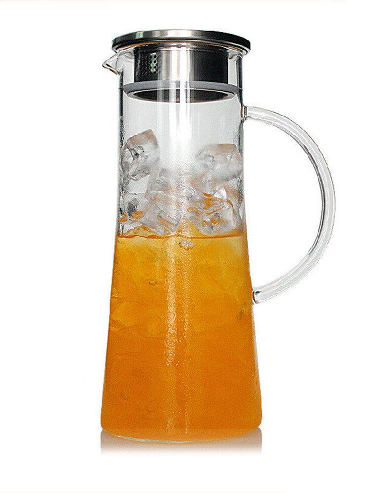 Стеклянный чайник 1800 мл, термостойкий прозрачный чайник, ситечко из нержавеющей стали, чайник для сока