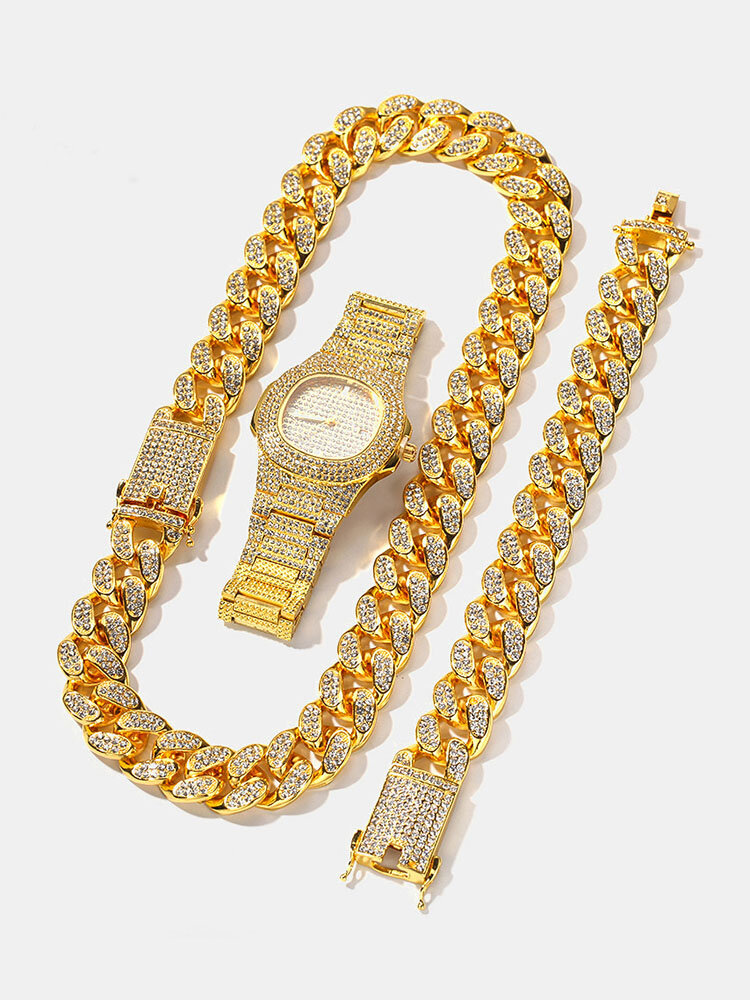 1/3 Pcs Men Watch Set Hip Hop Chain Gold Color Paved Rhinestones Men Jewelry