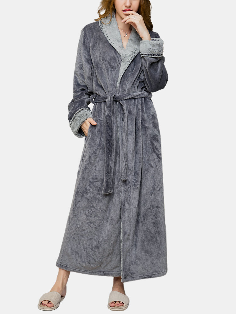 Women Flannel Lapel Thicken Warm Cozy Belted Long Robes With Pocket