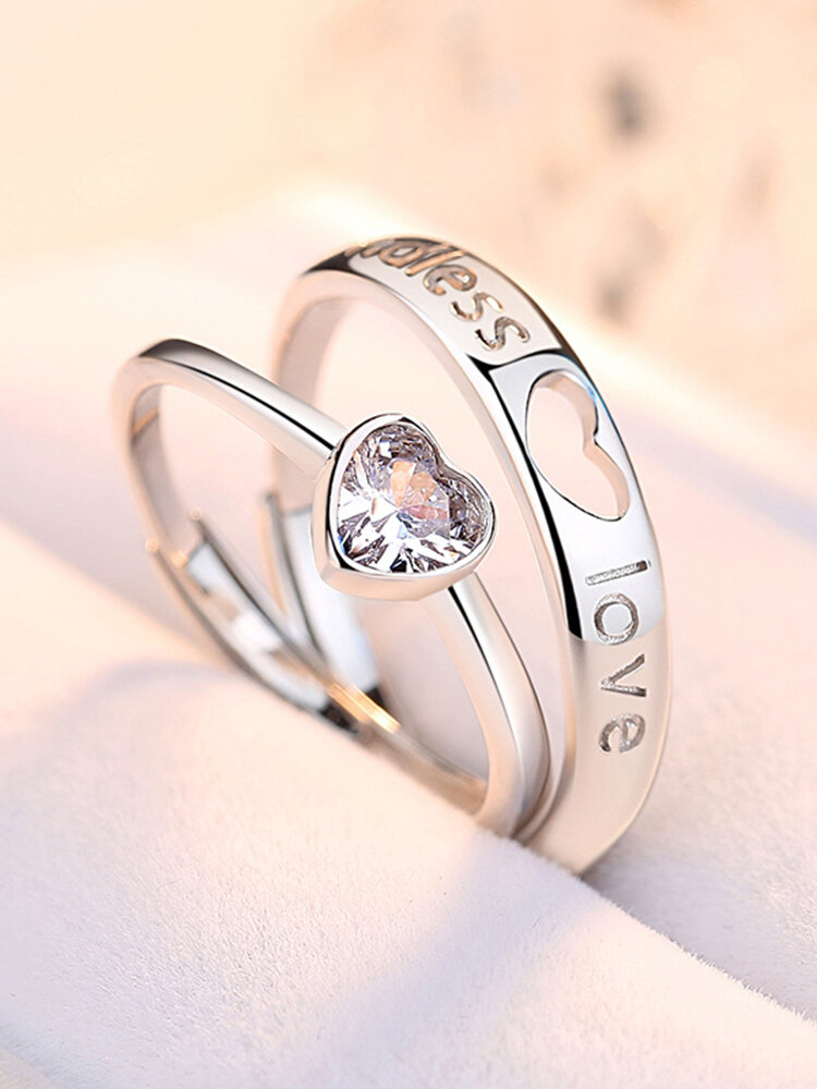1 Pair Elegant 925 Silver Couple Rings Adjustable Open Heart Ring Valentine's Day Gift