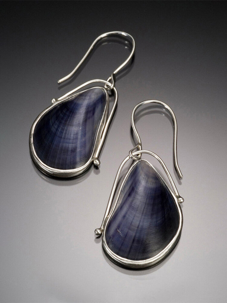 Vintage River mussel Jewelry Set Blue Shell Pendant Earrings Necklace