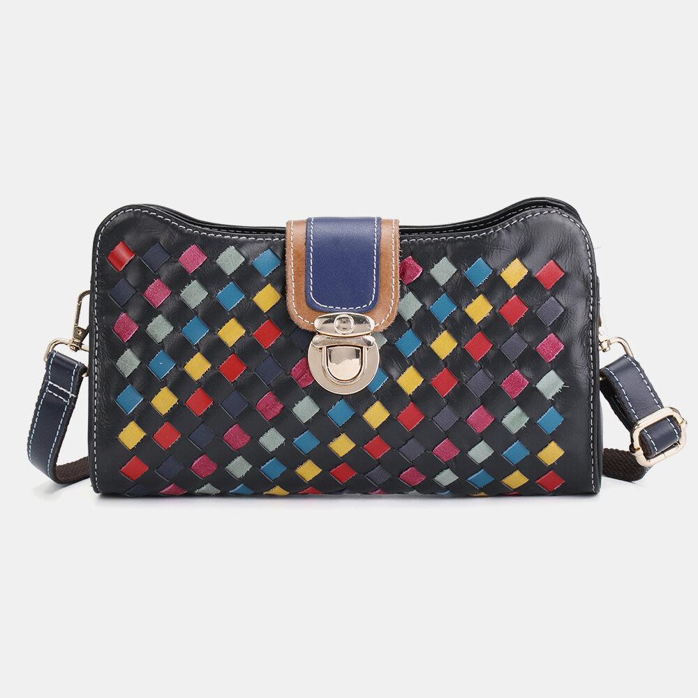 Women Genuine Leather Patchwork Phone Bag Crossbody Bags