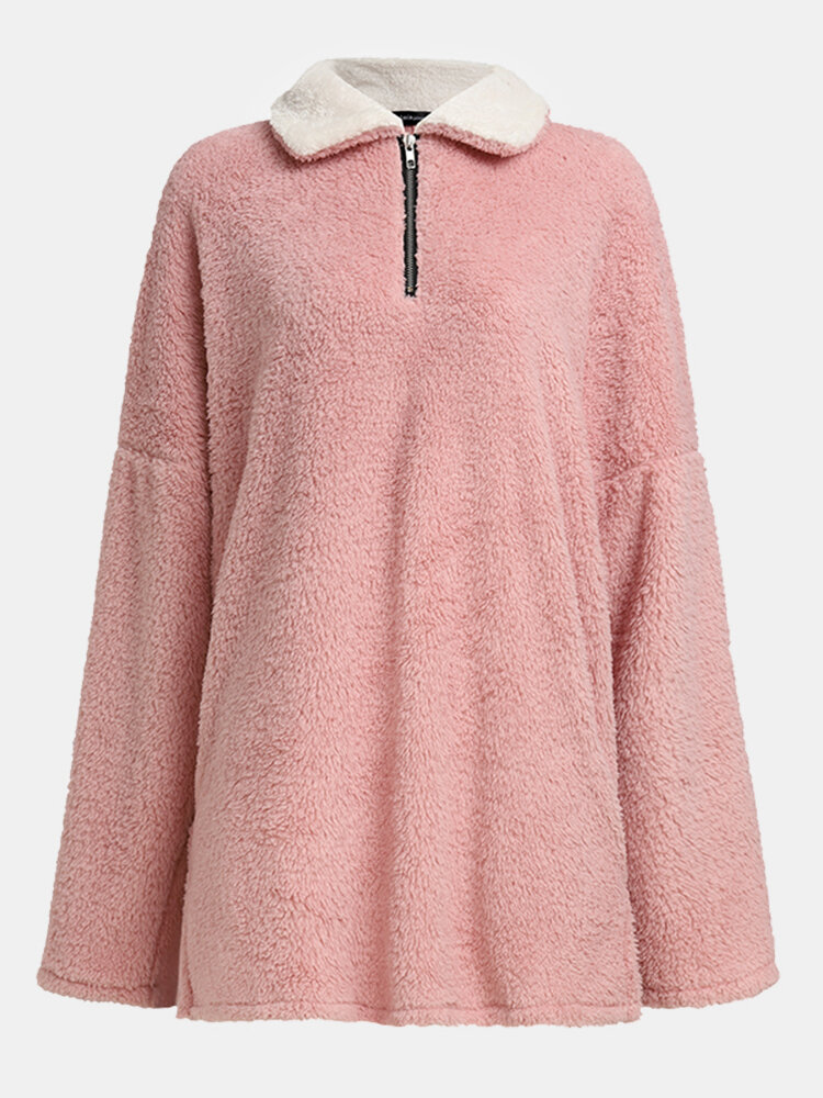 Solid Color Zipper Pocket Plush Long Sleeve Casual Coat for Women