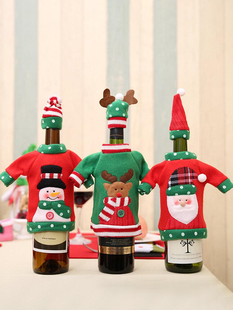 1 قطعة غطاء زجاجة نبيذ الكريسماس عيد الميلاد والتطريز كاريكاتير زينة مائدة الكريسماس