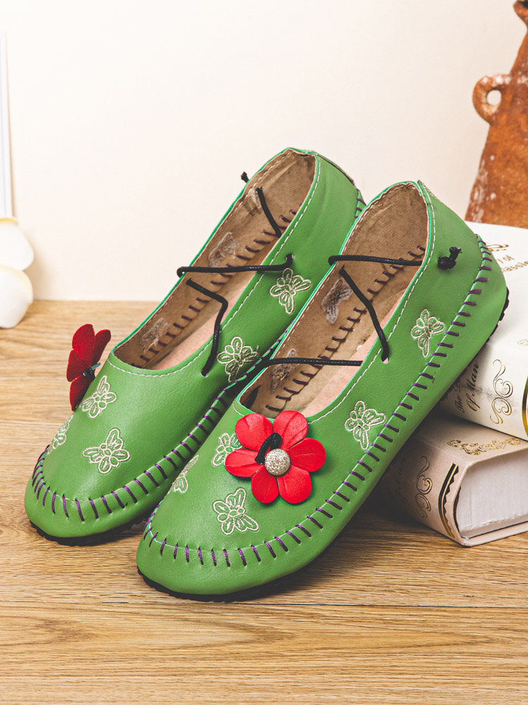 Large Size Casual Floral Butterfly Pattern Comfy Women's Hand Stitching Shoes