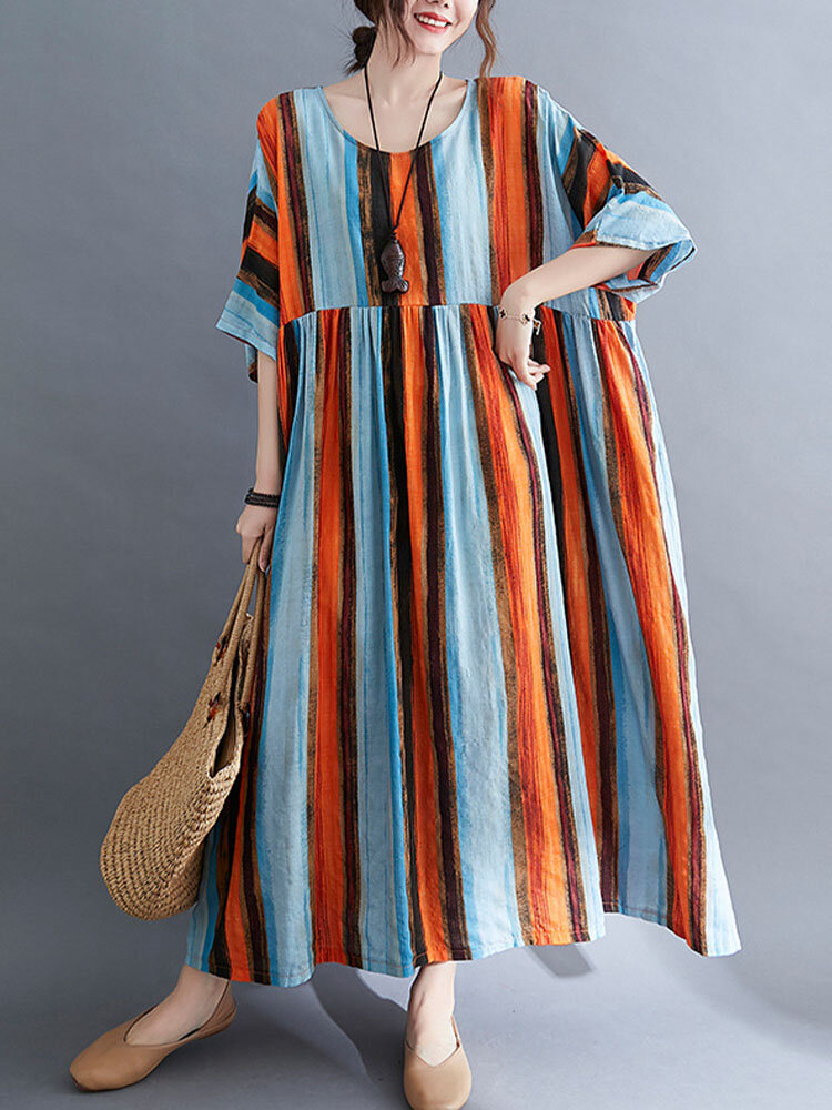 Color Contrast Striped Print Plus Size Dress with Pocket