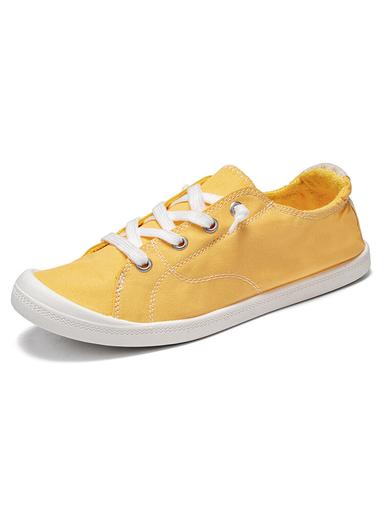 Women Large Size Breathable Canvas Non Slip Lace-Up Flat Court Sneakers