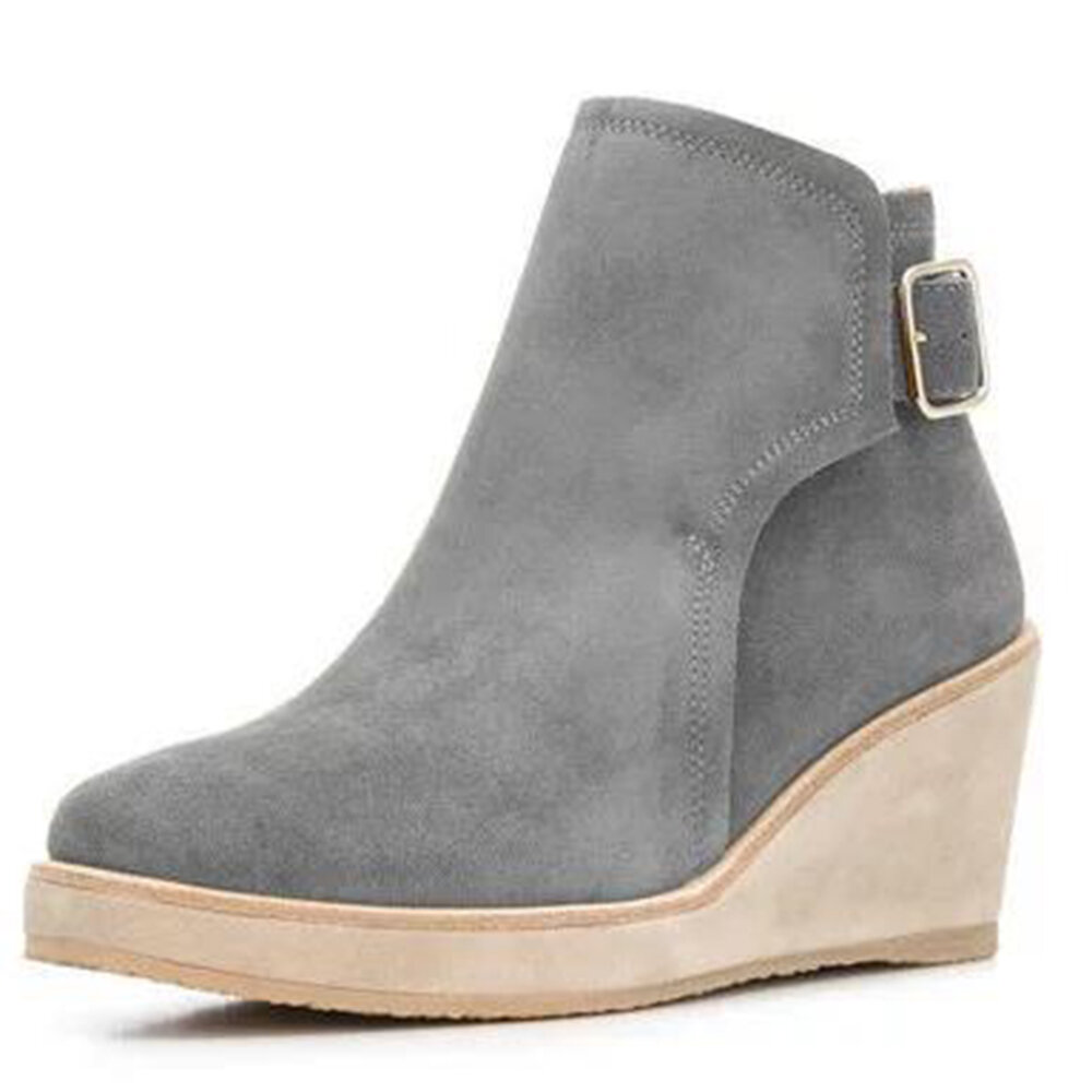 Solid Buckle Strap Wedge Ankle Boots