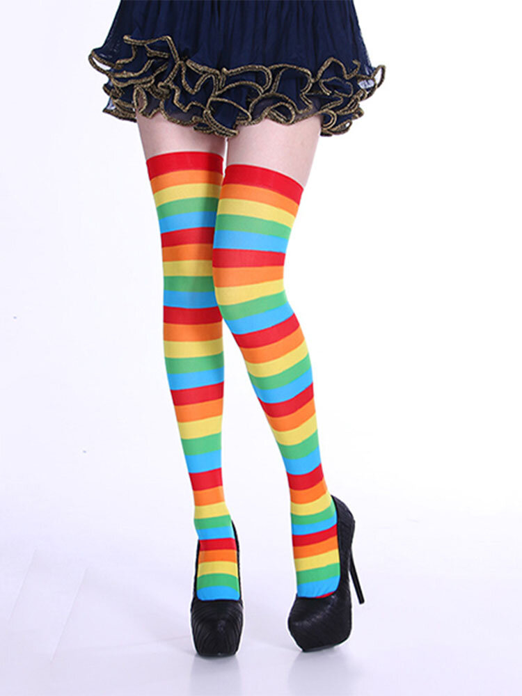 Sexy Women Girl Rainbow Striped Thigh High Stocking Over the Knee Socks For Christmas Dating Cosplay