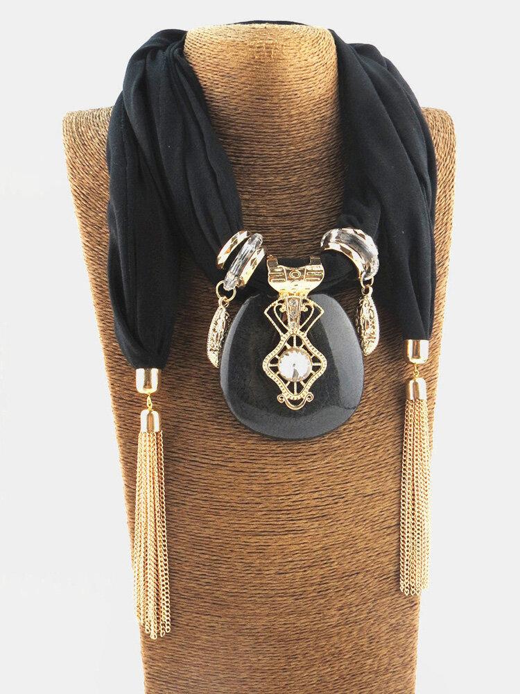 Bohemian Printed Chiffon Multi-layer Necklace Handmade Beaded Tassel Pendant Ladies Scarf Shawl Necklace