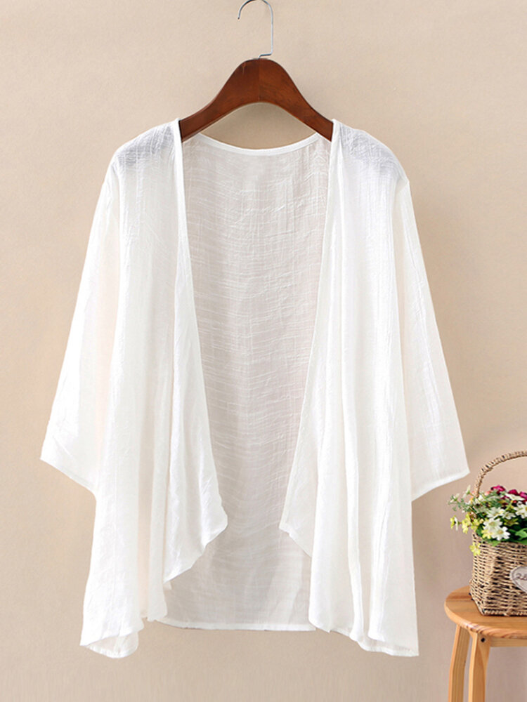 Solid Color 3/4  Sleeves Casual Thin Cardigan For Women