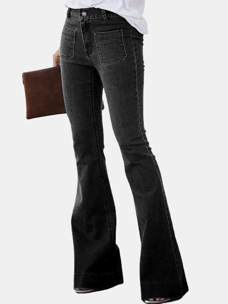 Solid Color Button Casual Demin Jeans For Women