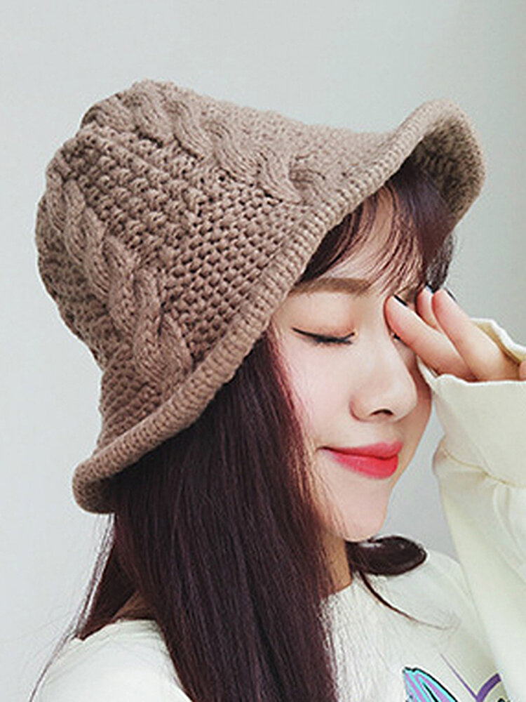 Women Knitted Beanie Basin Cap Fisherman Curling Hat Casual Outdoors Lady Hat Bucket Hat