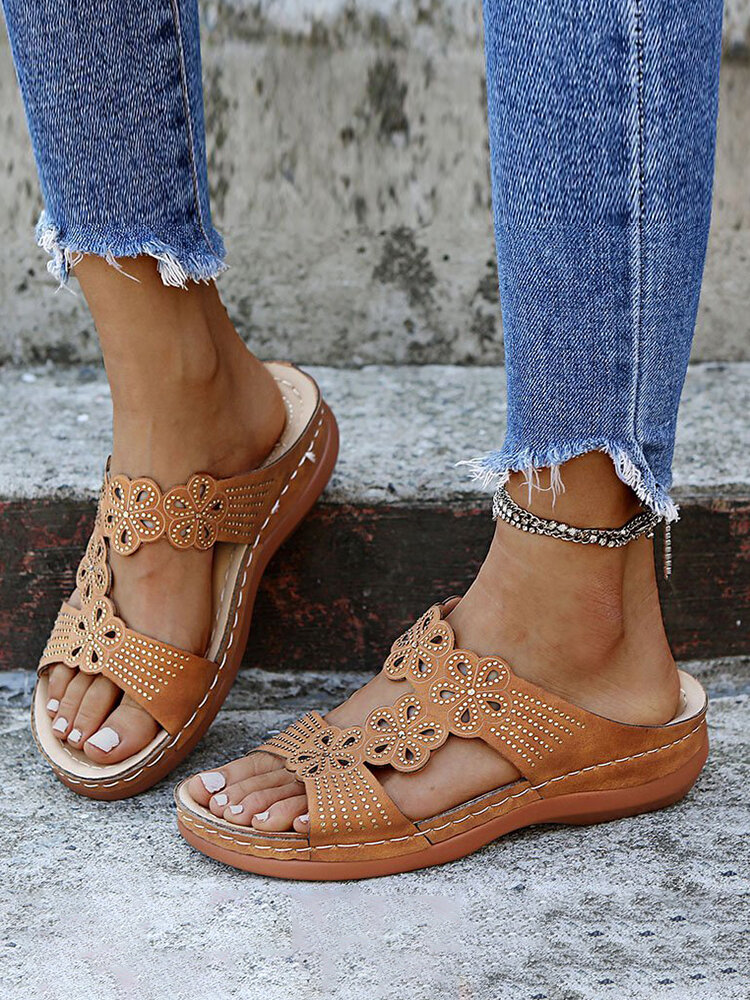 Women Rhinestone Carved Hollow Slippers Comfy Slip On Casual Wedges Sandals