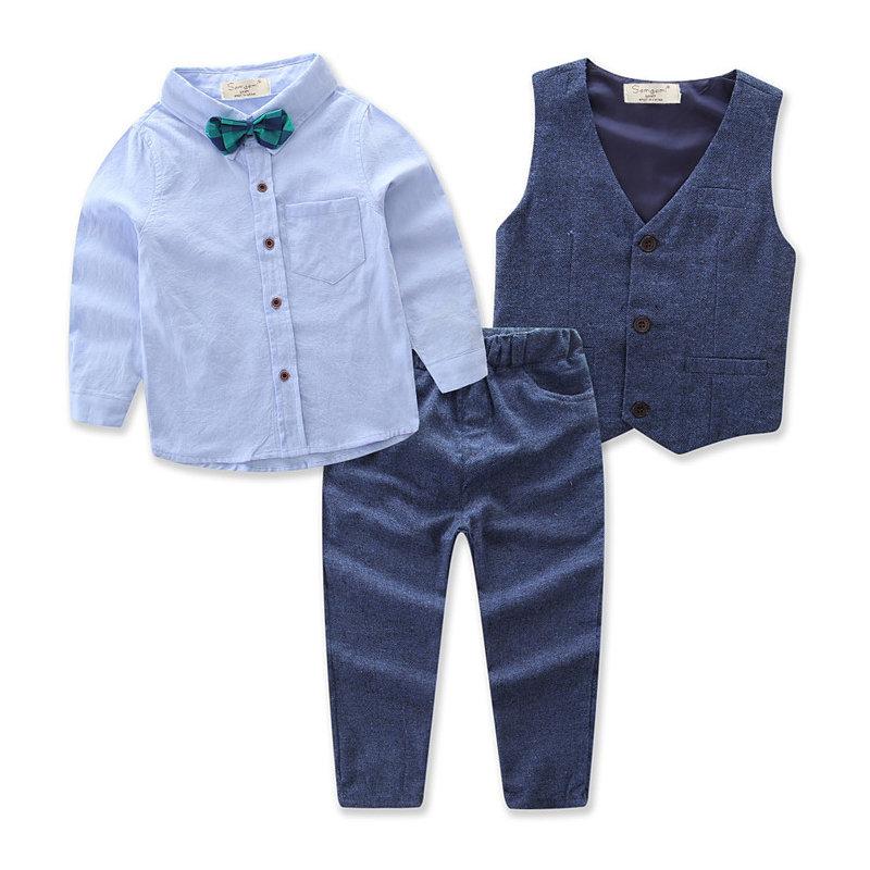 664f34fa9cc 3 piezas de ropa formal para niños Conjuntos Camisa + Abrigo de chaleco +  Largo Pantalones Para 1Y-9YEn Venta - NewChic