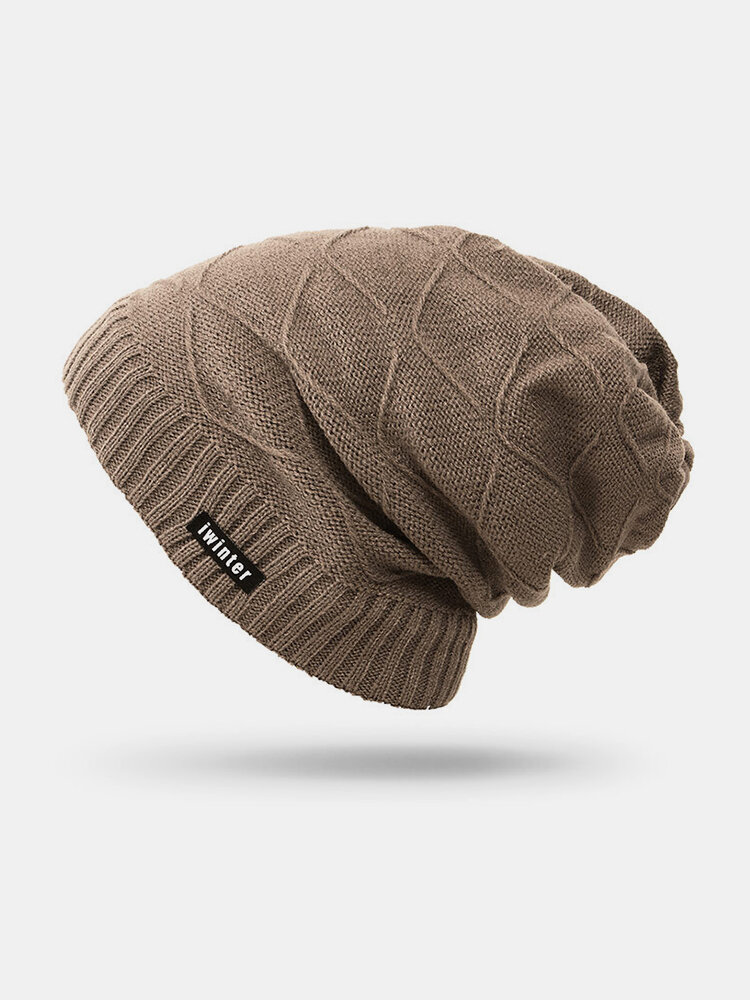 Men Winter Knitted Thicker Plus Plush Beanie Hats Outdoor Casual Warm High Stretch Stocking Hat