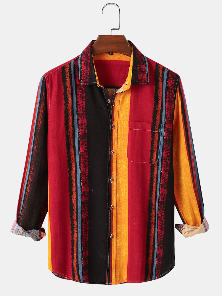 Mens Multi-Color Striped Print Casual Regular Fit Long Sleeve Shirts
