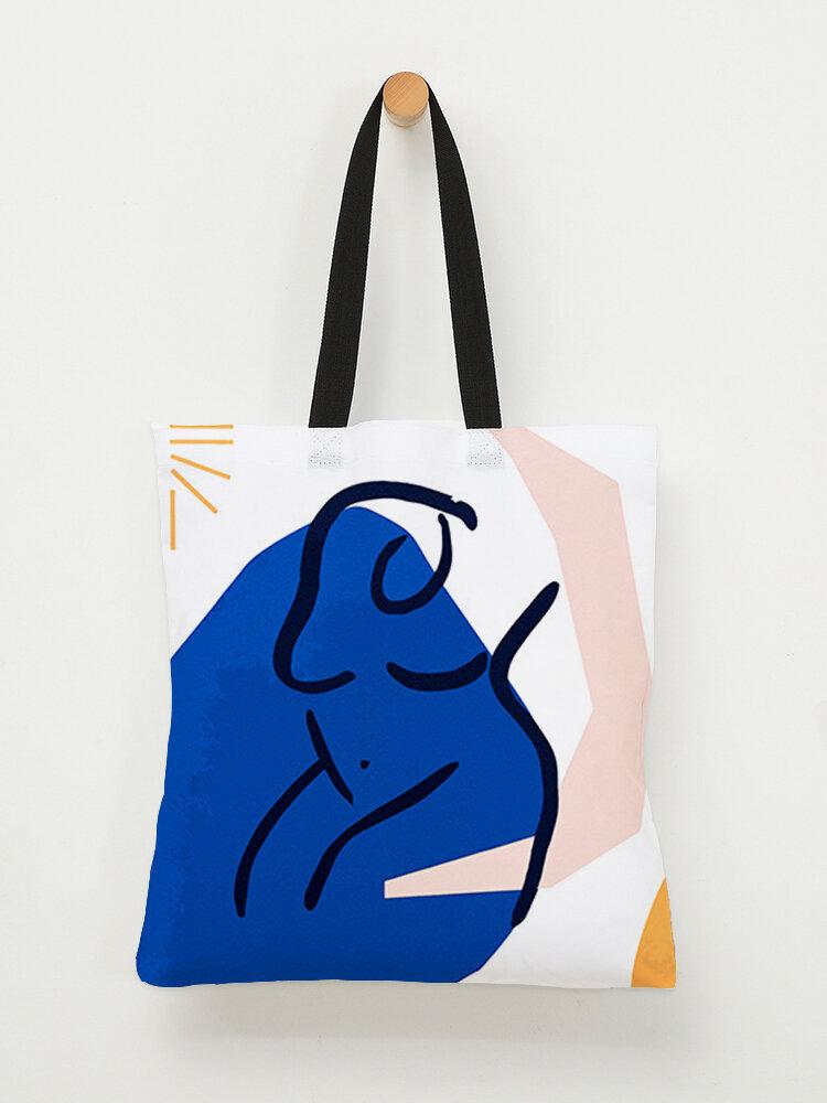Sac à bandoulière à motif de figures abstraites bleu en toile pour femmes