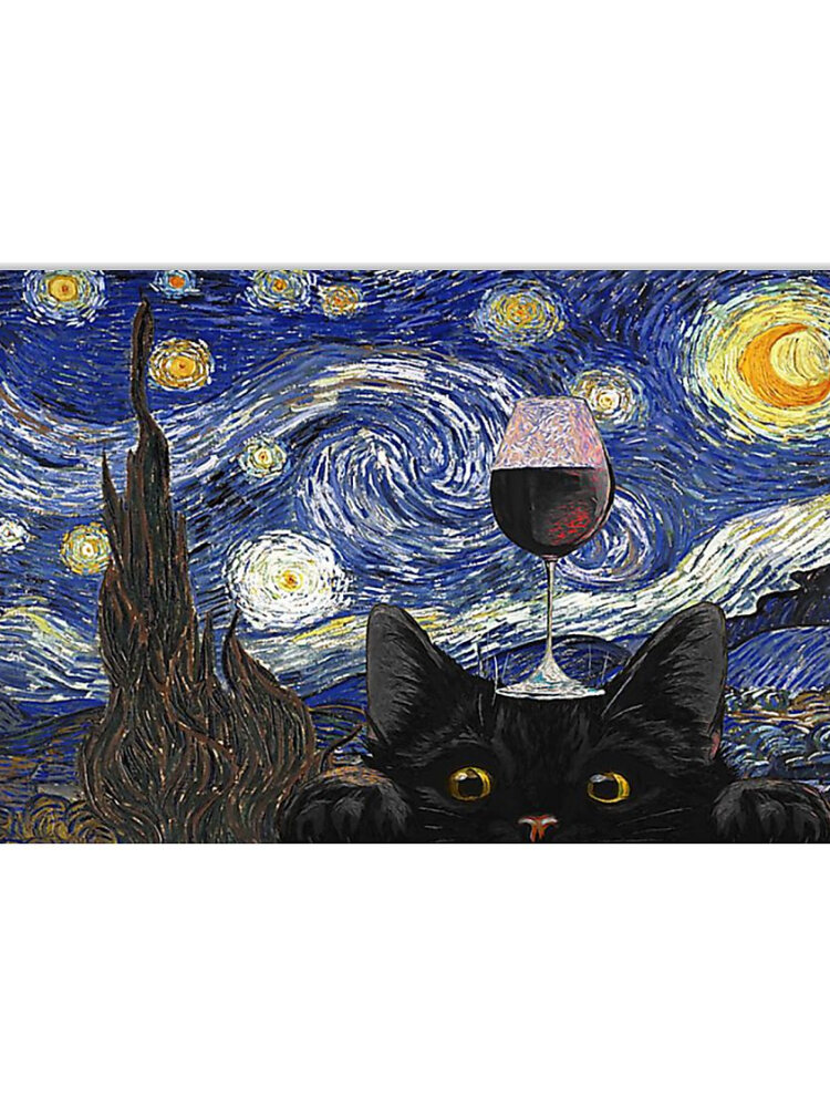 Sky And Black Cat Unframed Oil Painting Canvas Mysterious Wall Art Living Room Home Decor