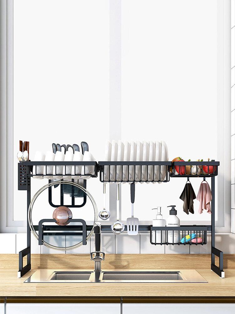 <US Instock> رف أطباق قائم من الفولاذ الأسود غير القابل للصدأ رف تجفيف الأطباق فوق المغسلة رف مستلزمات المطبخ رف تخزين أدوات المائدة منظم تجفيف رف عرض