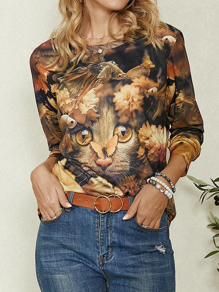 Forest Cat Print O-neck Long Sleeve Vintage Plus Size T-shirt