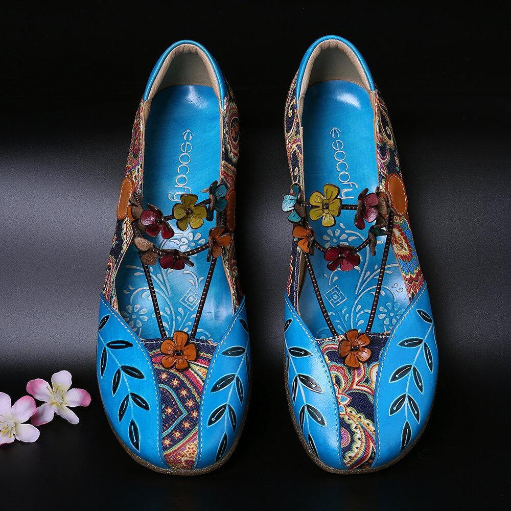 SOCOFY Folkways Motif Cuir Véritable Épissage Jacquard Confortable Élastique Bande Chaussures Plates