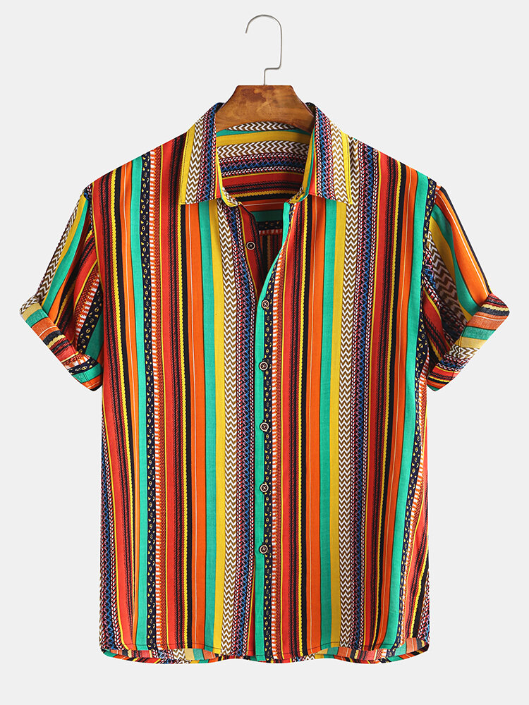 Mens Ethnic Colorful Stripe Printed Casual Short Sleeve Shirt