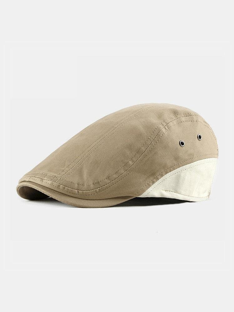 Men Cotton Color-matching Patchwork Sunscreen Casual Beret Flat Caps
