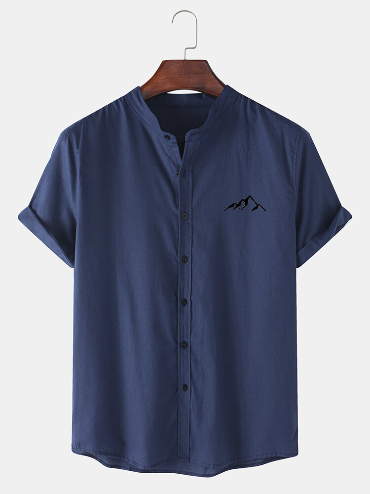 Mens Mountain Chest Print Stand Collar Casual Cotton Short Sleeve Shirts