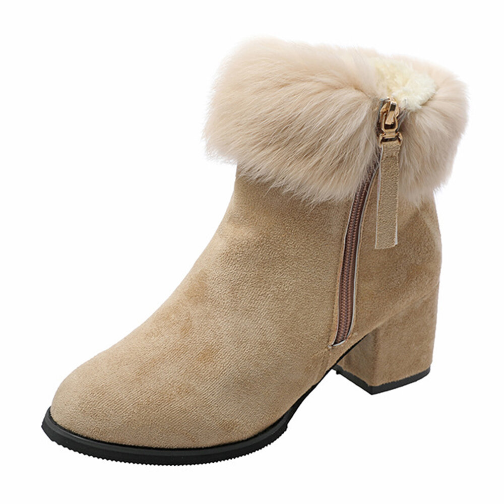Chunky Kitten Heel Side Zipper Round Toe Solid Color Fur Lined Ankle Boots