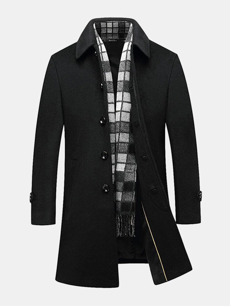 Negro Negocios Casual Woolen Chaquetas Mid Long Trench Coats para los hombres