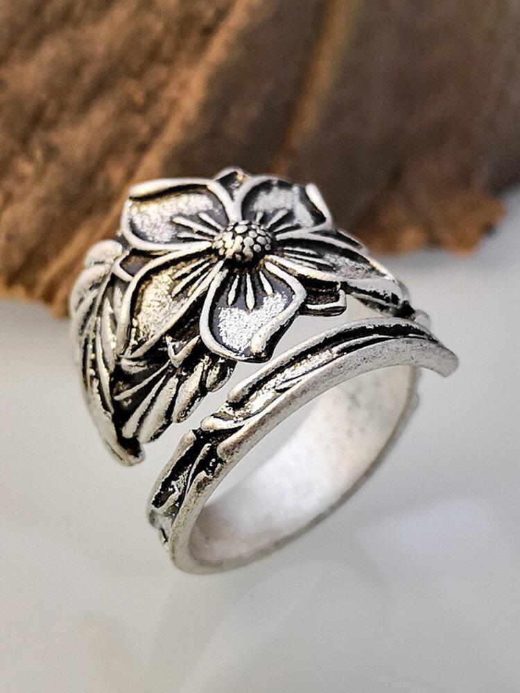 Vintage Flower Leaf Women Ring Alloy Carved Adjustable Open Ring