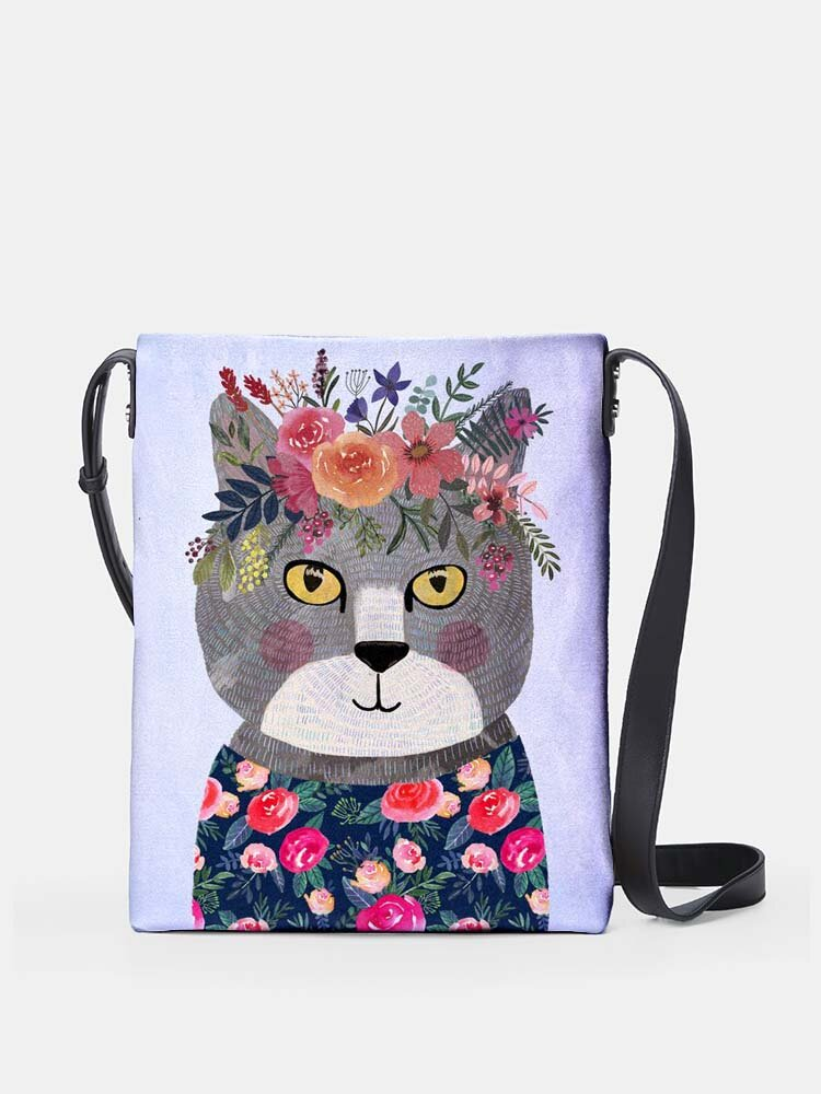 Big Flower Lovely Psychedelic Cats  Print Pattern Comfy Waterproof Multi-Pockets Magnetic Clasp Crossbody Bag