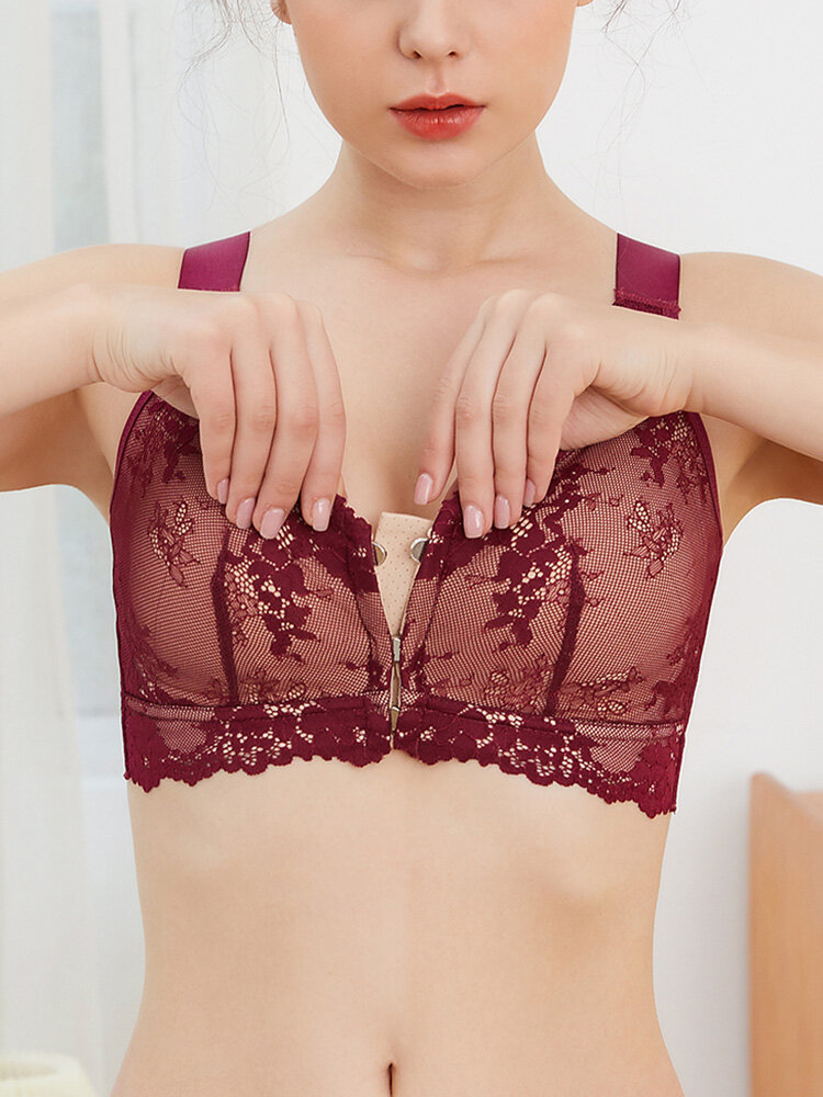 Wireless Flower Lace Breathable Front Magnetic Button Bra