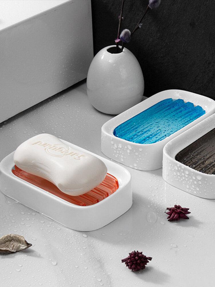 1Pc Soap Holder Double-Layer Bathroom Accessories Plastic Shower Soap Dish Non-Slip Draining Tool Drainage Household Soap Box