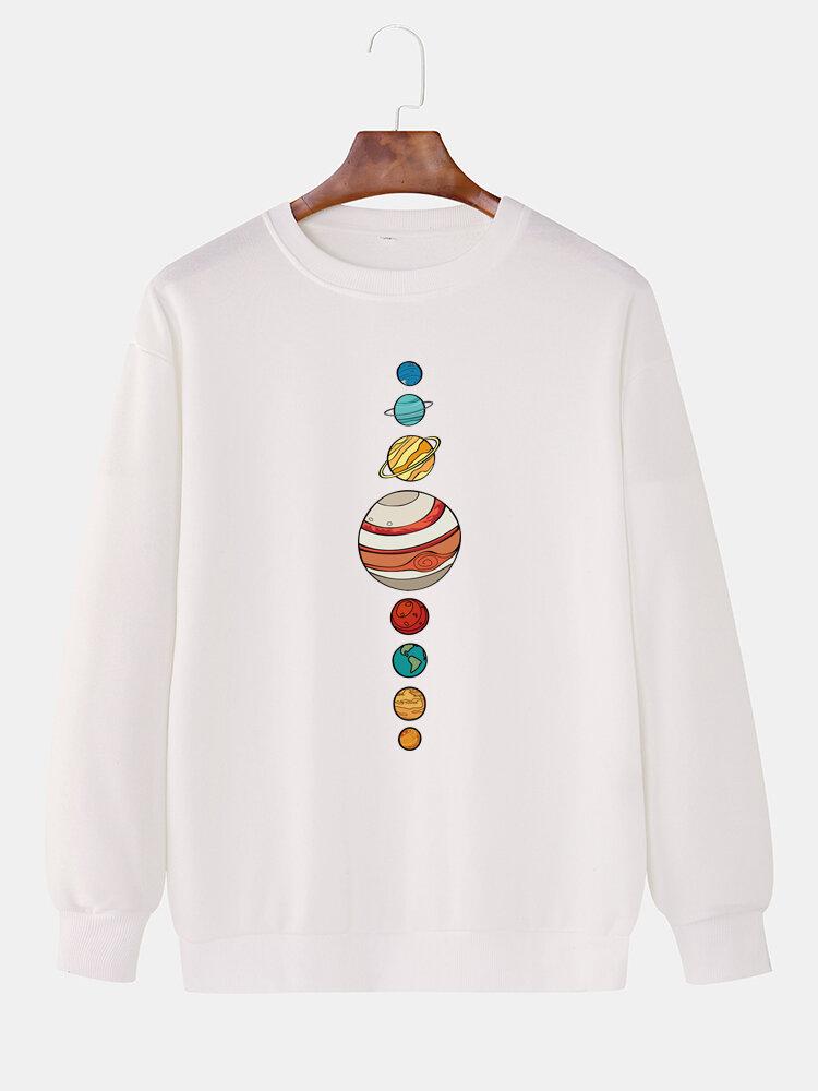 Mens Cartoon Planet Print Plain Daily Loose Lounge Pullover Sweatshirts