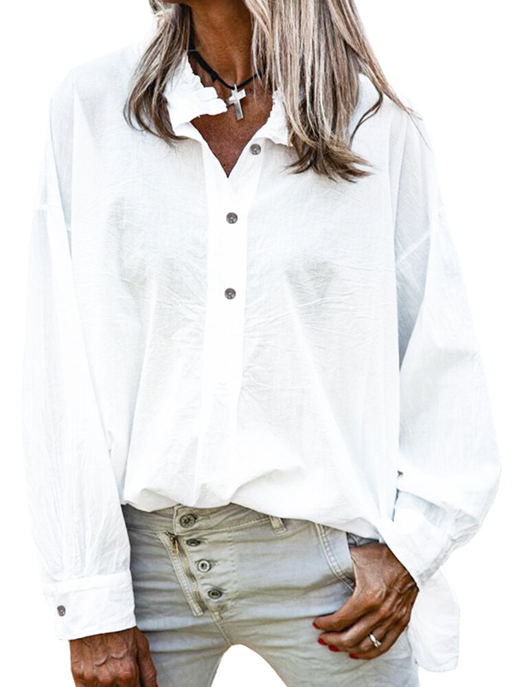 Solid Color Long Sleeves Stand Collar Loose Blouse For Women