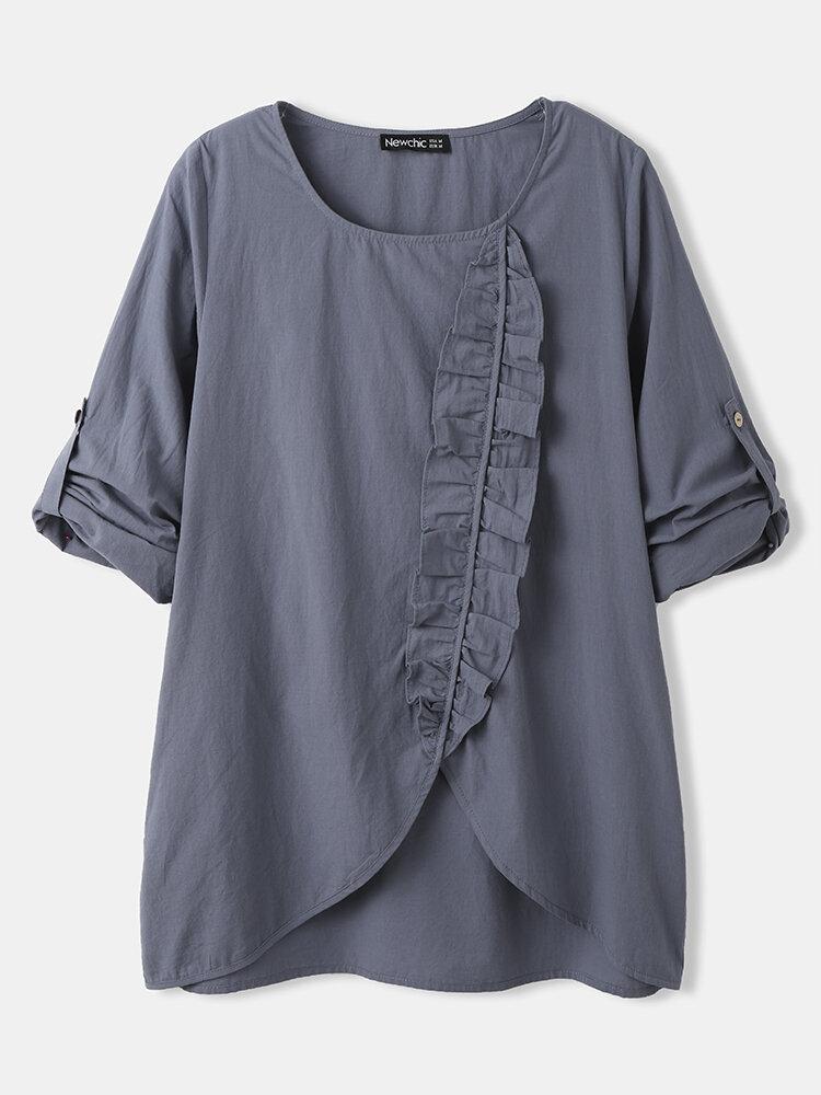 Ruffle Long Sleeve O-neck Women Casual Solid Blouse