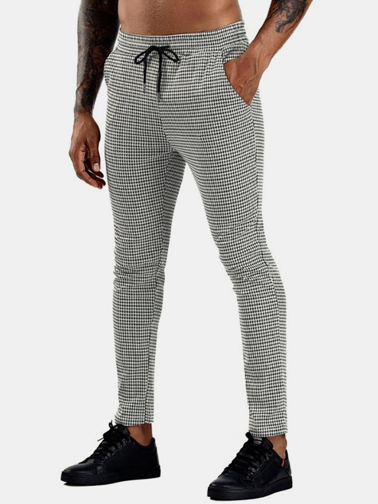 Mens Cotton Houndstooth Pattern Casual Skinny Drawstring Pants