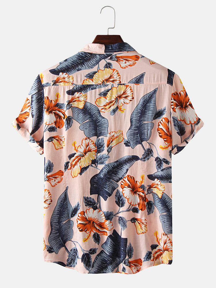 Mens Lovely Oil Print Leaf and Flowers Turn Down Collar Short Sleeve Shirts Best Online