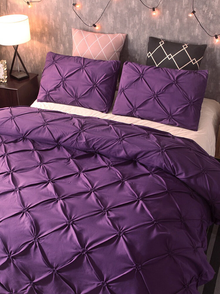 3Pcs Luxus Polyester einfarbiges Bettwäscheset Full Queen King Size Bettbezug Kissenbezug