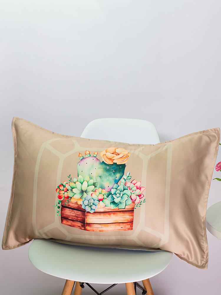 48*74 cm Potted Plants Cacti Succulent Silk Fabric Soft Cotton Linen Pillowcase