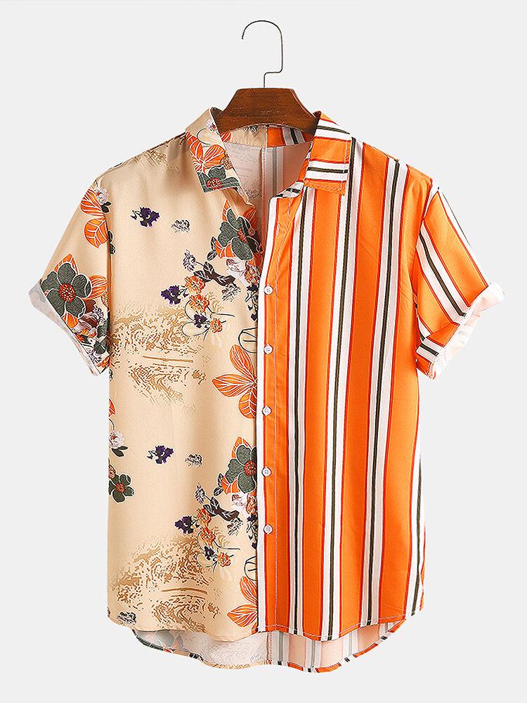 Men Landscape Painting Striped Patchwork Holiday Curved Hem Shirt