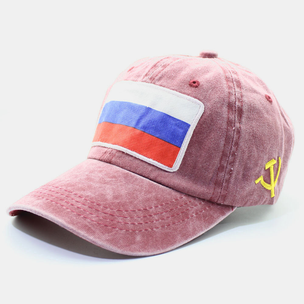 Men & Women Embroidered Russian Flag Washed Cotton Baseball Cap
