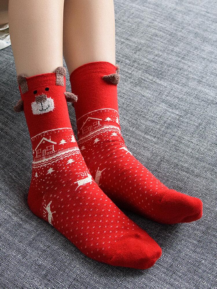 Women Cute Red Deer Christmas Cotton Socks Warm Breathable Soft Tube Socks For Christmas Gifts