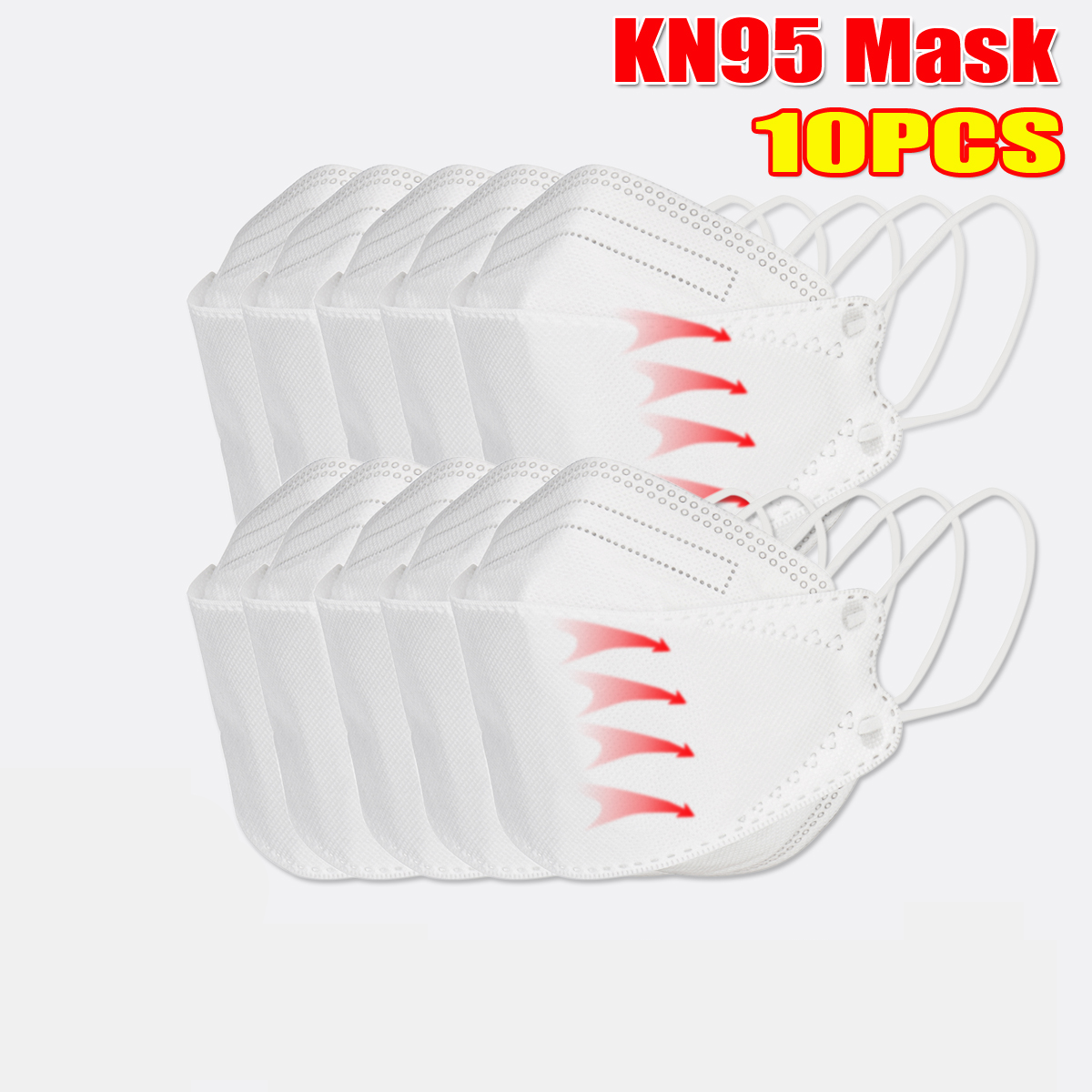 <US Instock> 10 Pcs / Pack of KN95 MasksCE Certification Passed The GB-2626-KN95 Test PM2.5 Filter Mask