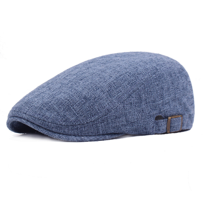 Mens Vintage Linen Solid Color Beret Caps Casual Travel Newsboy Forward Hat Gorras