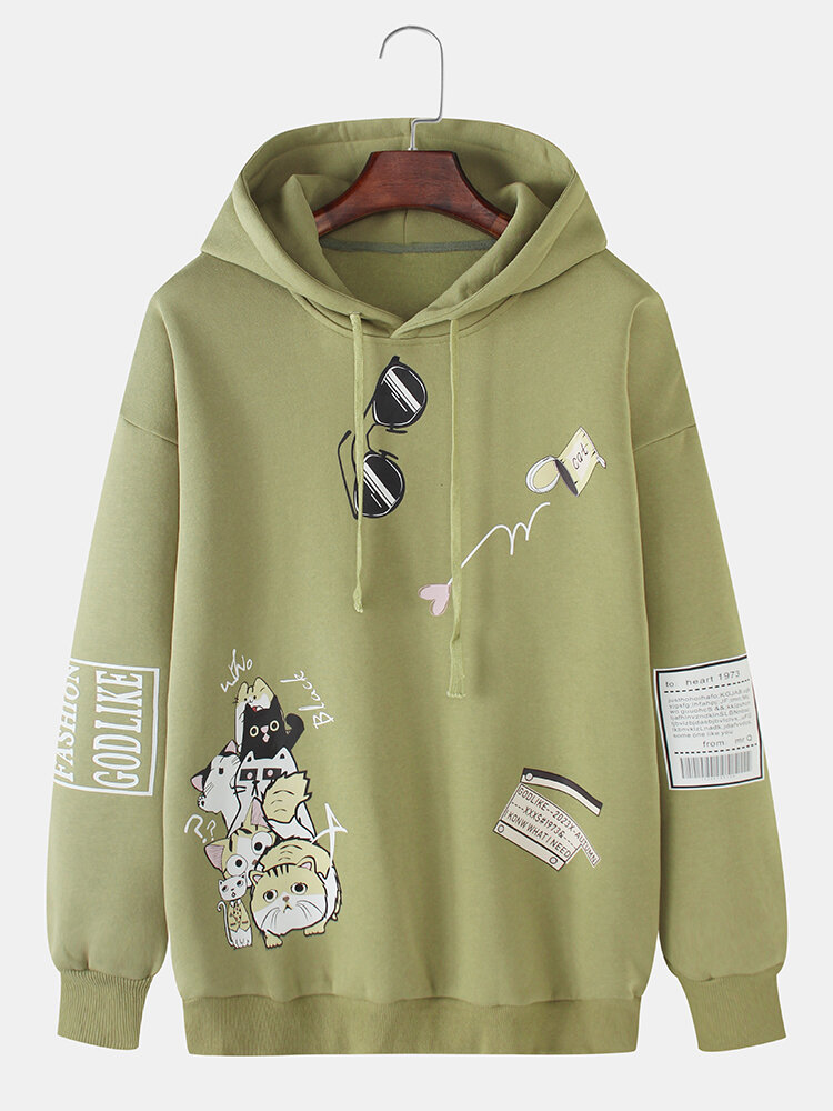 Mens Cartoon Cat Pattern Print Daily Relaxed Fit Drawstring Pullover Hoodies