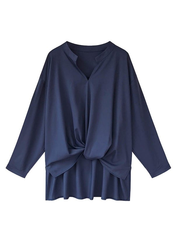 Women's Blouse Solid Color Stand Collar Ruching Asymmetrical Top