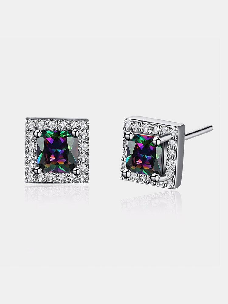 YUEYIN® Colourful Zircon Square Shape Women Ear Stud
